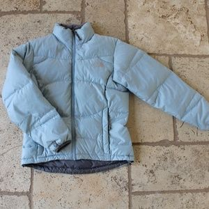 the North Face light blue puffer jacket